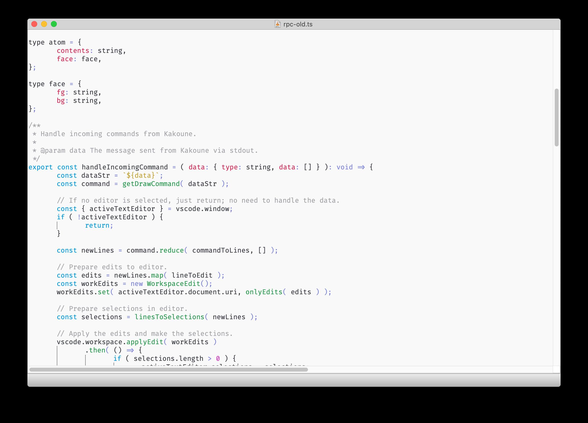 Qode editing a typescript file